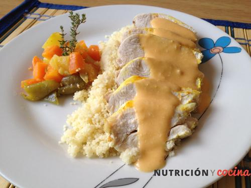 receta pollo marinado con cuscus y verduras