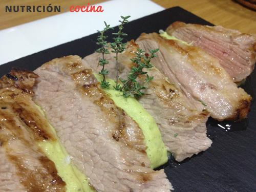 secreto de cerdo ibérico con pure de calabacin