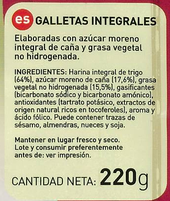 alimentos integrales, etiquetado galleta integral