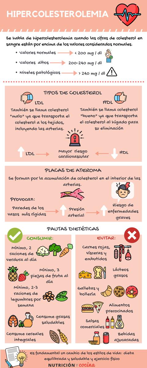 infografía hipercolesterolemia y nutrición